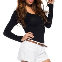 Simple White Shorts with Brown Belt