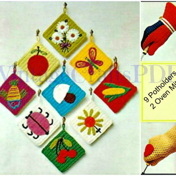 1970s Crochet Vintage Pattern   Fun Potholders and Oven Mitts   flowers heart butterfly apple mushroom fish bug cherries   Direct from USA