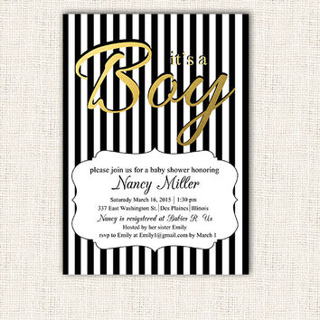 Black and white boy baby shower invitation black white stripes gold foil or glitter baby shower invite instant download digital