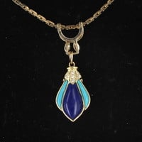 Vintage Lapis Turquoise Diamond Pendant Necklace 14 Karat Yellow Gold Estate Jewelry