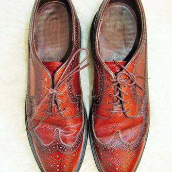Vintage Mens Dexter Perforated Leather Wingtip Shoes Sz 11
