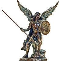 Archangel Raphael from the Veronese Collection. Lightly hand-painted cold cast bronze, 9inches.