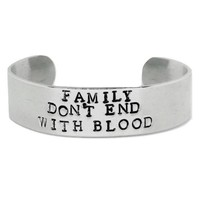Supernatural Hand Stamped Family Don't End With Blood Cuff Bracelet