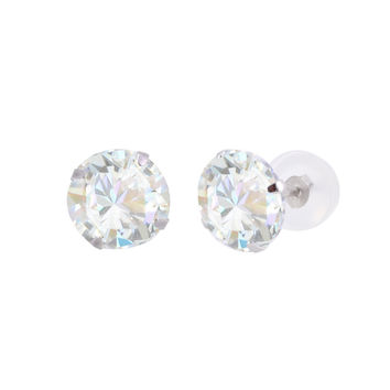 10k White Gold Clear CZ Cubic Zirconia Stud Earrings Round Prong Silicone Backs