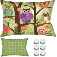 """Manual Woodworkers SHXFOW Forest Owls 24"""" x 18"""" Climaweave Outdoor / Indoor Pillow with 6-Pack of Tea Candles"""