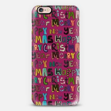 pink merry christmas happy new year iPhone 6s case by Sharon Turner   Casetify
