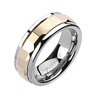Spikes Mens Tungsten Carbide Rose Gold IP Square Faceted Spinner Ring
