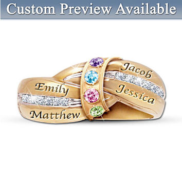 """""""A Mother's Embrace"""" Engraved Personalized Birthstone Ring"""