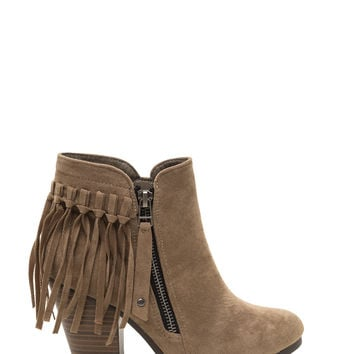 Change Me Faux Suede Fringe Booties