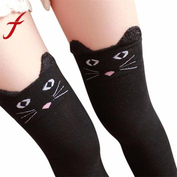 Feitong Women Over Knee Socking Winter Cotton Lovely Cat Bear Panda Knitted Long Boot Thigh-High Warm Stockings Long Socks 2017