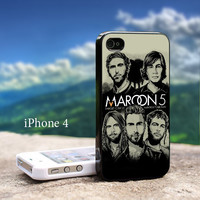 Maroon 5 Band For iPhone 4 / 4s Black Case