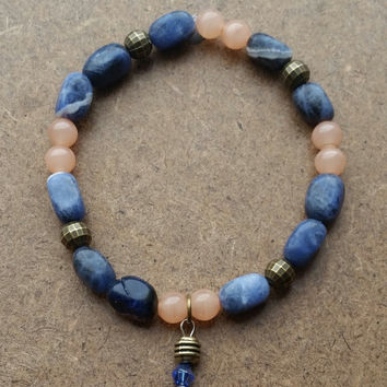 Sapphire Sodalite and Peach Bracelet, Stack Bracelet, Stretchy Women's Bracelet, Handmade Jewelry, Unique Gift under 25