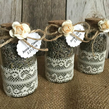 Wedding favors - lavender filled glass bottles - bridal shower favors with personalized tags.