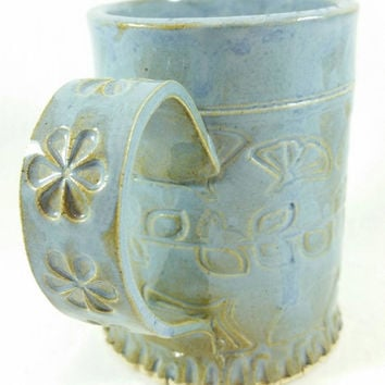 Blue Handmade Ceramic Pottery Mug - large pottery ceramic clay mug:  Perfect for coffee, tea or beer!  You choose your favourite beverage.