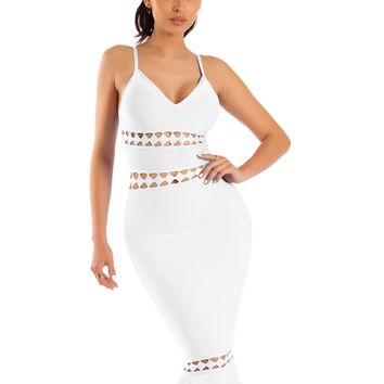 Claudia White Cut Out Detail Mermaid Bottom Bandage Dress