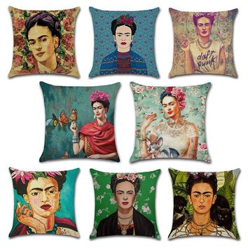 Frida Kahlo Cushion Case Pillow Case Firm Flower self-portrait Butterfly Bedroom Home Decorative Throw Pillow Cover 7A0278