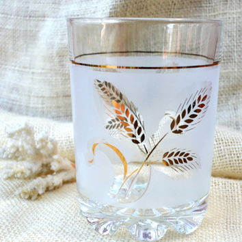 Frosted Ice Bucket Gold Leaf Wheat Pattern // Vintage Glass ice bucket