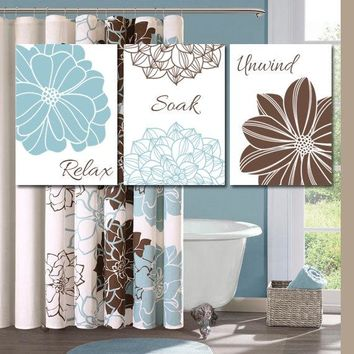 BATHROOM DECOR, Relax Soak Unwind, Floral Bathroom Art, Bath Flower Wall Art, CANVAS or Print Blue Brown Bathroom, Bath Quotes Set of 3