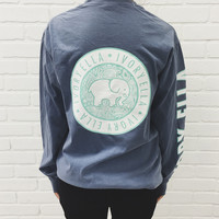 Steel Blue Campus Sleeve Print