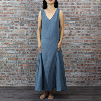 V-neck Sleeveless Low Waist Long Dress