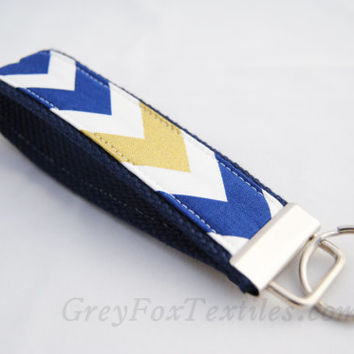 Indigo, navy blue and gold chevron key fob, key chain, key strap holder