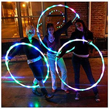"LED Hula Hoop Weighted Dance & Fitness Glow Light Up Hoola Hoops for Adults and Kids, 24 Color Strobing Changing LED Light, 8 Section Detachable Design, Portable Hula Hoops 36"" (batteries not include)"