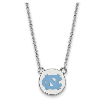 NCAA Sterling Silver North Carolina Sm Enameled Disc Necklace