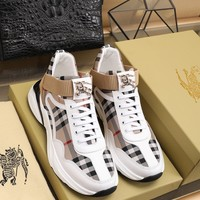 BURBDRRY   Men Fashion Boots fashionable Casual leather Breathable Sneakers Running Shoes