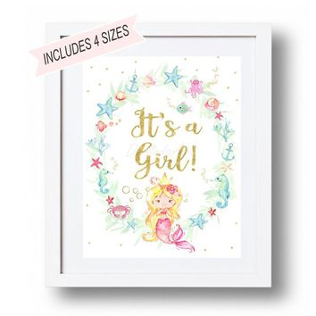 It's a girl Sign Pink and blue Mermaid Baby Shower Sign Printable Gender reveal mermaid Sign Gender Reveal Sign Mermaid Baby Shower decor