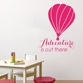 Air Balloon Wall Decal Quote Adventure is Out There Vinyl Sticker Bedroom Interior Design Kids Baby Boy Girl Nursery Decor Art Murals KY70