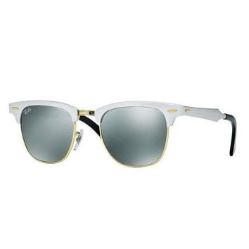 Kalete Ray Ban RB3507 137/40 Clubmaster Aluminum Sunglasses Silver Silver Mirror 51mm