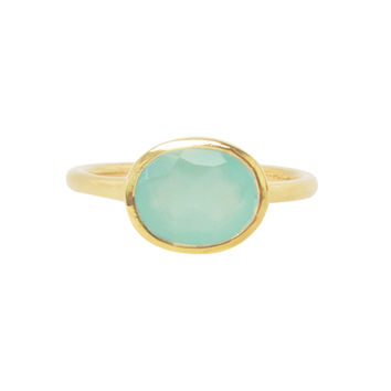 Aqua Chalcedony Oval Gold Ring