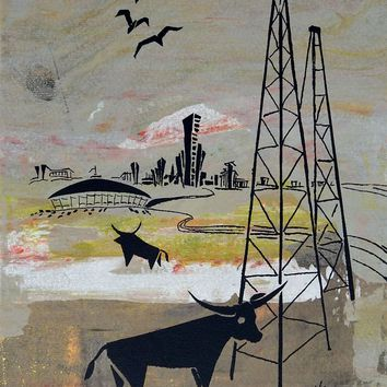 Vintage 1960s Texas Longhorns & Oil Wells Serigraph
