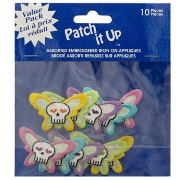 Skull Butterfly Embroidered Iron-On Appliques ( Case of 48 )