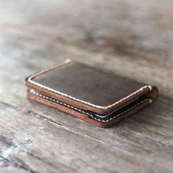 Wallet - Front Pocket Design - Minimalist Handmade Leather Credit Credit Card Wallet - Made by JooJoobs [Listing# 051]
