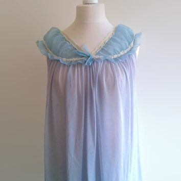 SALE - Long blue vintage nightgown - sheer lilac babydoll nightie - frilly chiffon nylon nightdress -  pin up retro night gown