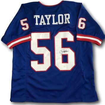LAWRENCE TAYLOR SIGNED NY GIANTS FOOTBALL JERSEY COA JSA AUTOGRAPH HOF
