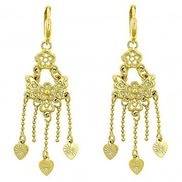 Gold Layered 02.118.0005 Chandelier Earring, Butterfly and Flower Design, Polished Finish, Golden Tone