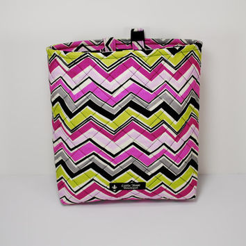Quilted Auto Car Trash Bag / Car Accessories / Car Organizer / Litter Bag with Adjustable Strap, Buckle and Vinyl Lining -- Chevron