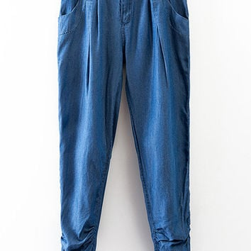 Blue Buttons Fly Pockets Ruched Denim Harem Pants