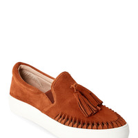 Tan Aztec Tasseled Slip On Sneakers
