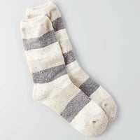 AEO Rugby Stripe Crew Socks, Cream