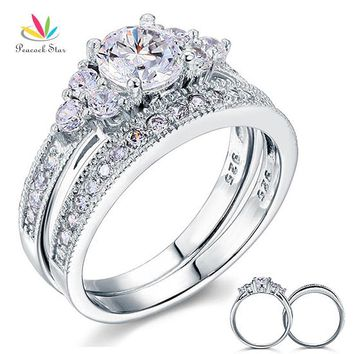 Peacock Star Vintage Style 1 Ct Sterling 925 Silver 2-Pc Wedding Anniversary Engagement Ring Set Jewelry CFR8102