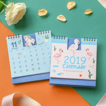 Mohamm Cute Unicorn Flamingo 2019 Planner Desk Calendar Supplies Office Decoration Organizer