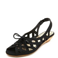 CUTOUT SLINGBACK WEDGE SANDAL