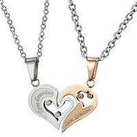 His and Hers Heart Engraved Cubic Zirconia CZ Matching Locking Dangling Charm Pendant Silver Stainless Steel Necklace