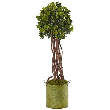 Artificial Silk Tree -2.5 Ft English Ivy Tree In Metal Planter