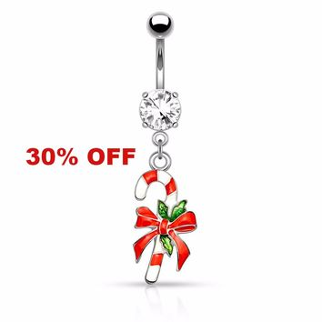 Holiday Silver Candy Cane Belly Button Navel Ring 14ga Surgical Stainless Steel