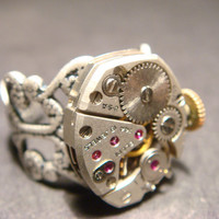 Steampunk  Vintage Elgin Watch Movement Ring with Exposed Gears (896)
