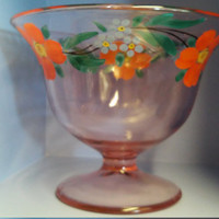 Vintage Pink Pressed Glass Vase Decor Hand Painted Floral Pattern